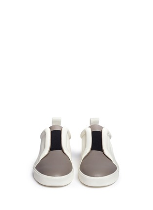 Front View - Click To Enlarge - Vince - 'Caden' colourblock leather slip-on sneakers