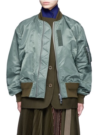 Main View - Click To Enlarge - Sacai - Double layer flannel and nylon bomber jacket