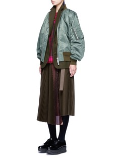 SacaiDouble layer flannel and nylon bomber jacket