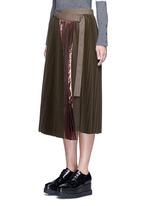 Lamé pleated flannel wrap midi skirt