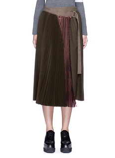 Sacai Lamé pleated flannel wrap midi skirt