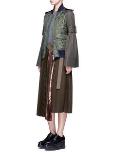 SacaiLamé pleated flannel wrap midi skirt