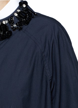 Detail View - Click To Enlarge - Muveil - Embellished collar long cotton jacket