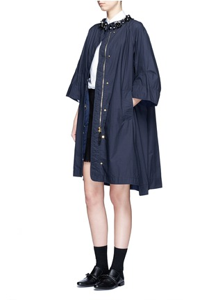 Figure View - Click To Enlarge - Muveil - Embellished collar long cotton jacket