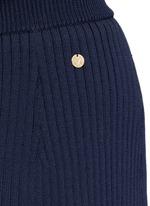 Stripe hem back split knit pencil skirt