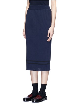 Front View - Click To Enlarge - Muveil - Stripe hem back split knit pencil skirt