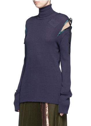 Front View - Click To Enlarge - Muveil - Crepe insert ribbon tie turtleneck knit