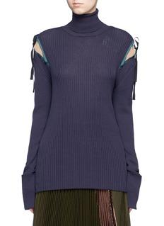 MuveilCrepe insert ribbon tie turtleneck knit
