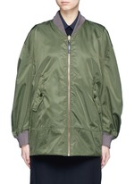 Reversible gathered sleeve mesh bomber jacket