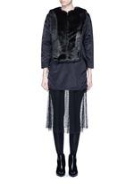 Mesh hem faux fur nylon dress