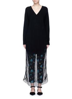 TOGA ARCHIVESFishnet mesh combo wool sweater dress