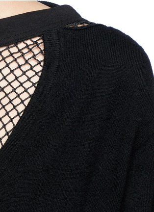 Detail View - Click To Enlarge - TOGA ARCHIVES - Fishnet mesh V-neck wool sweater