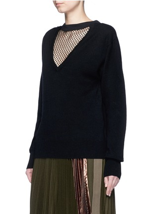 Front View - Click To Enlarge - TOGA ARCHIVES - Fishnet mesh V-neck wool sweater