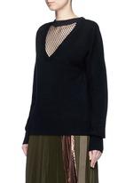 Fishnet mesh V-neck wool sweater