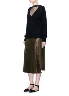 TOGA ARCHIVESFishnet mesh V-neck wool sweater