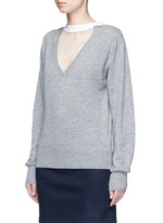 Fishnet mesh V-neck marled wool sweater