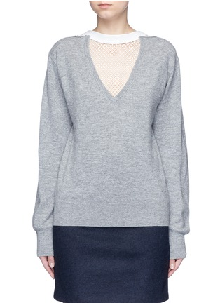 Main View - Click To Enlarge - TOGA ARCHIVES - Fishnet mesh V-neck marled wool sweater