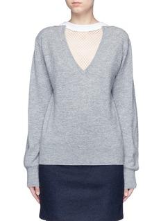 TOGA ARCHIVESFishnet mesh V-neck marled wool sweater