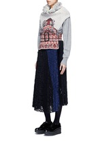 Rug jacquard wool blend knit belted neck warmer