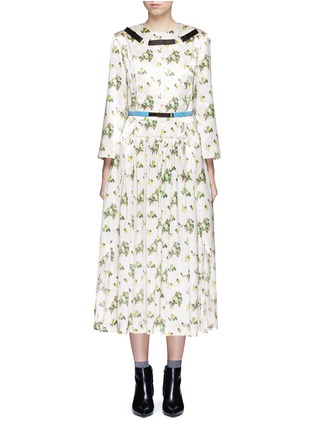 Main View - Click To Enlarge - TOGA ARCHIVES - Floral print satin belted midi dress