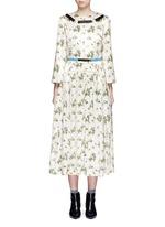 Floral print satin belted midi dress