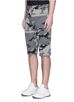 Front View - Click To Enlarge - Neil Barrett - Keffiyeh check camouflage print bonded shorts
