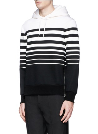 Front View - Click To Enlarge - Neil Barrett - Nautical stripe print bonded jersey hoodie