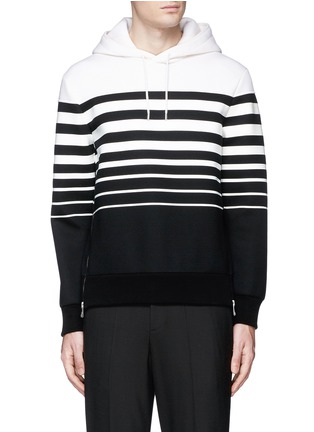 Main View - Click To Enlarge - Neil Barrett - Nautical stripe print bonded jersey hoodie