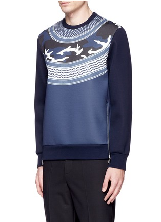 Front View - Click To Enlarge - Neil Barrett - Keffiyeh wave camouflage bonded jersey sweatshirt