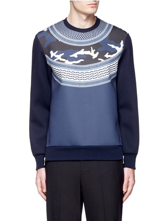 Main View - Click To Enlarge - Neil Barrett - Keffiyeh wave camouflage bonded jersey sweatshirt