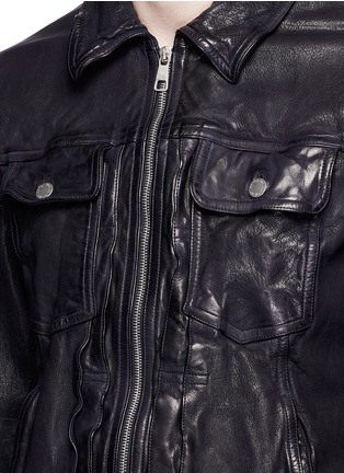 Detail View - Click To Enlarge - Neil Barrett - Washed leather zip jacket