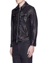 Washed leather zip jacket