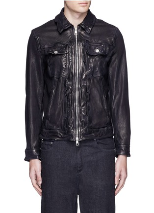 Main View - Click To Enlarge - Neil Barrett - Washed leather zip jacket