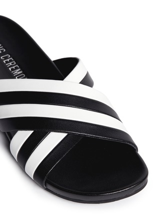 Detail View - Click To Enlarge - Opening Ceremony - 'Jourdena' stripe leather slide sandals