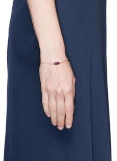 Delfina Delettrez 'Kiss My Hand' ruby 18k yellow gold chain hand bracelet