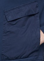 Contrast sleeve cotton piqué bomber jacket