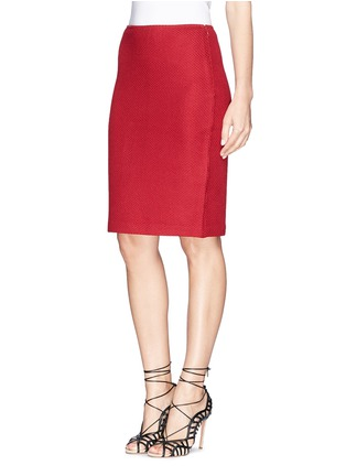 Front View - Click To Enlarge - ST. JOHN - Textured wool blend knit pencil skirt