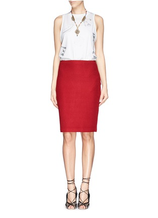 Figure View - Click To Enlarge - ST. JOHN - Textured wool blend knit pencil skirt