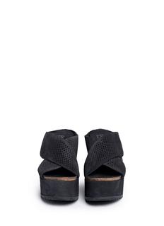 PEDRO GARCÍA'Dita' perforated suede wedge mule sandals