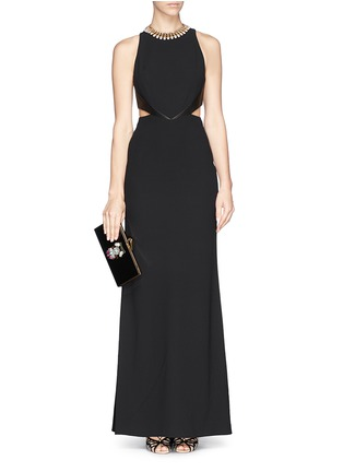 Detail View - Click To Enlarge - alice + olivia - 'Adel' leather trim side cutout maxi dress
