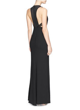Back View - Click To Enlarge - alice + olivia - 'Adel' leather trim side cutout maxi dress