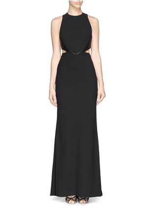 Main View - Click To Enlarge - alice + olivia - 'Adel' leather trim side cutout maxi dress