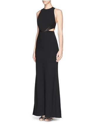 Figure View - Click To Enlarge - alice + olivia - 'Adel' leather trim side cutout maxi dress
