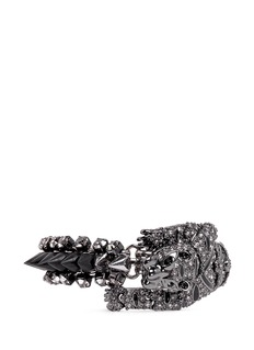 VENNA Crystal panther and spike bracelet