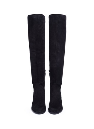 Front View - Click To Enlarge - Stuart Weitzman - 'All Serve' stretch suede thigh high boots