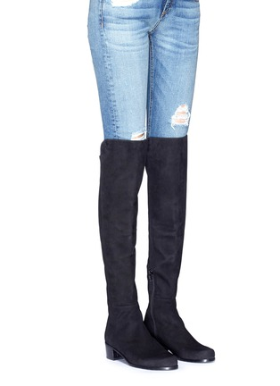 Figure View - Click To Enlarge - Stuart Weitzman - 'All Serve' stretch suede thigh high boots