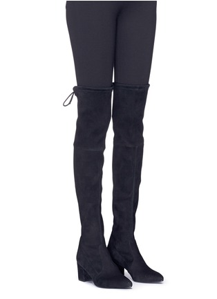 Figure View - Click To Enlarge - Stuart Weitzman - 'Thigh Land' stretch suede thigh high boots