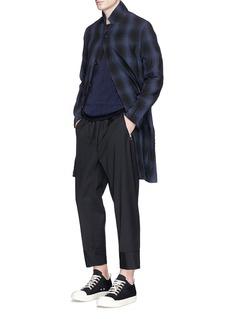 ATTACHMENTCheck plaid linen-cotton hopsack coat