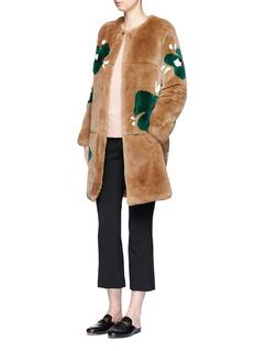 Yves SalomonFloral print Rex rabbit fur coat