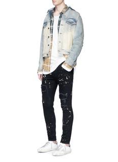 Faith ConnexionDistressed bleached cotton denim jacket